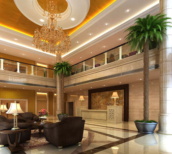 Lobby Foyer Area : Aristocratic foyer with luxury chandelier d model max