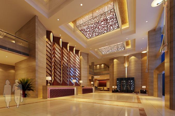 Luxury lobby with elegant ceiling decor 3d model for Hotel decor items