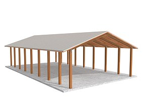 3D asset Wooden shelter 01