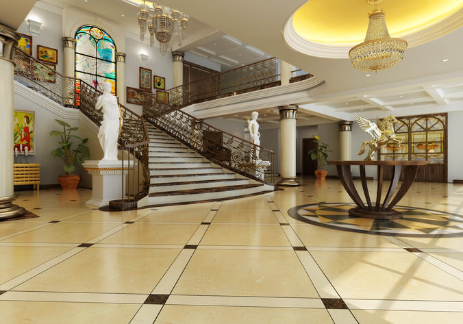 Foyer Ferme Grand Modele : D model foyer with grand staircase cgtrader