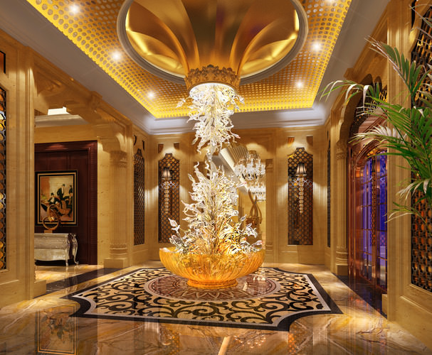 3d model foyer with exquisite floor decor cgtrader for Hotel foyer decor