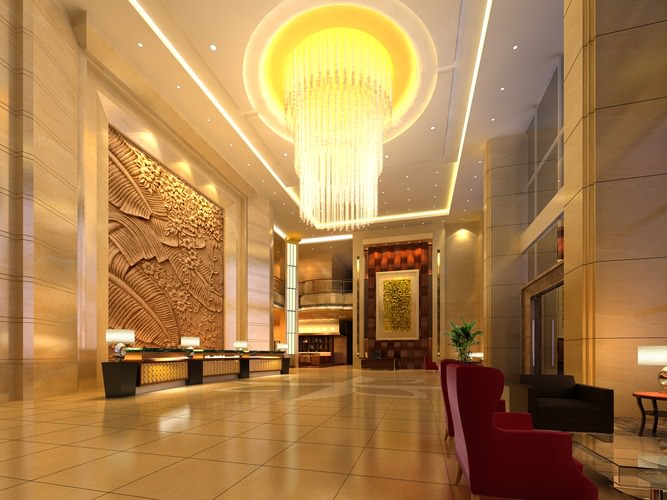 Luxury Foyer Chandeliers : D model foyer with luxury chandelier cgtrader