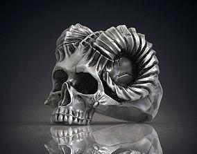Ring Skull Horned Demon STL OBJ 3d model for 3d