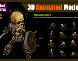 3D asset Skeleton Warrior
