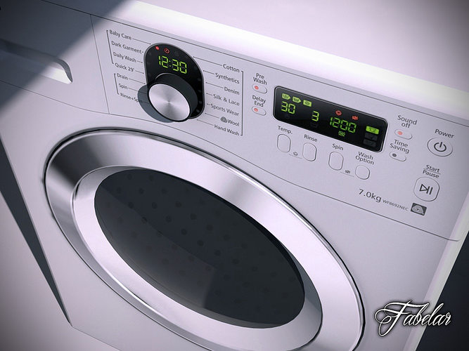 washing machine 3d model max obj 3ds fbx c4d dae 1