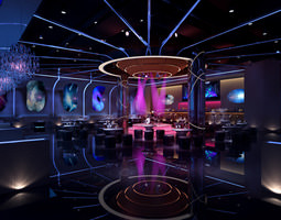 Posh Bar with Stylish Ceiling 3D model