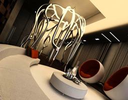 3D model Stylish Bar with Designer Decor