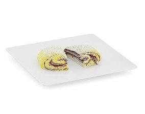 3D model Halved Sweet Bun on White Plate