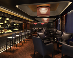 3d model posh bar with exotic chandeliers