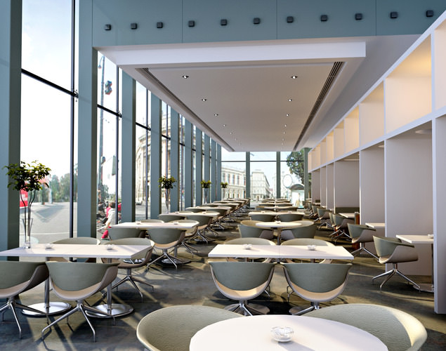 D restaurant with glass and ceiling decor cgtrader