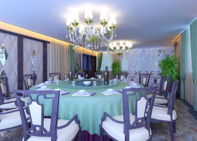 high-end restaurant with exquisite blue decor 3d model max 1