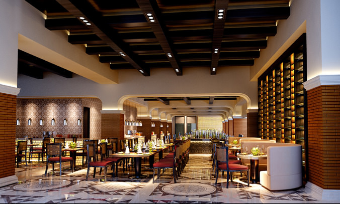 High End Restaurant With Wooden Ceiling Decor 3d Model Max