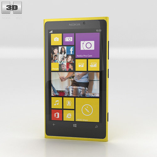 nokia lumia 1020 yellow 3d model low-poly max obj 3ds fbx c4d lwo lw lws 1