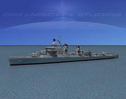 3d model sumner class destroyer  dd722 uss barton rigged