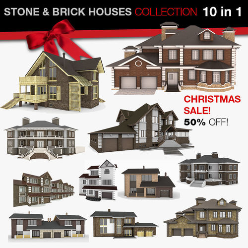 stone and brick houses 10 in 1 collection 3d model max obj mtl 3ds fbx c4d 1