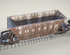 3D asset game-ready Railway Hopper Car vr2