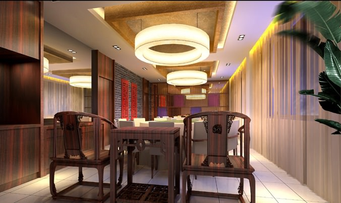 D model luxury restaurant with fancy interior cgtrader