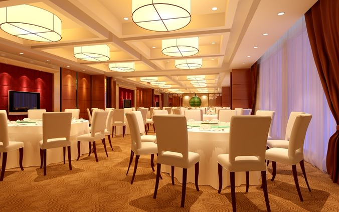 Luxury restaurant with white furniture d model cgtrader