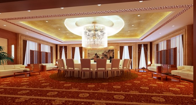 exotic restaurant with high-end floral carpet 3d model max 1