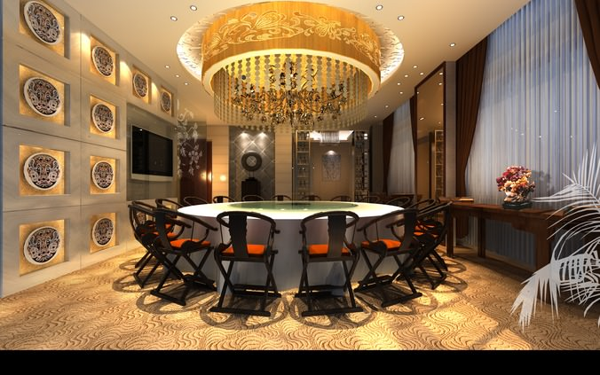 exotic restaurant with high-end interior 3d model max 1