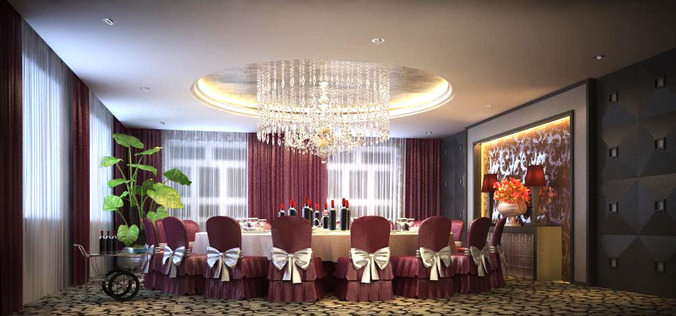 exotic carpeted dining space with chandelier 3d model max 1