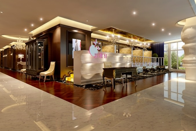 D model fancy restaurant with stylish interior cgtrader