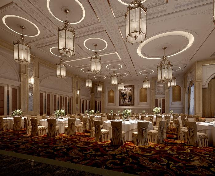 restaurant classy carpet and ceiling decor 3d model