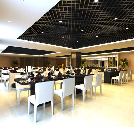 Restaurant With Black Ceiling Decor 3D Model MAX