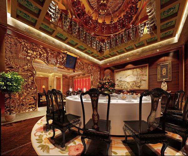 Luxury restaurant with royal decor d model max