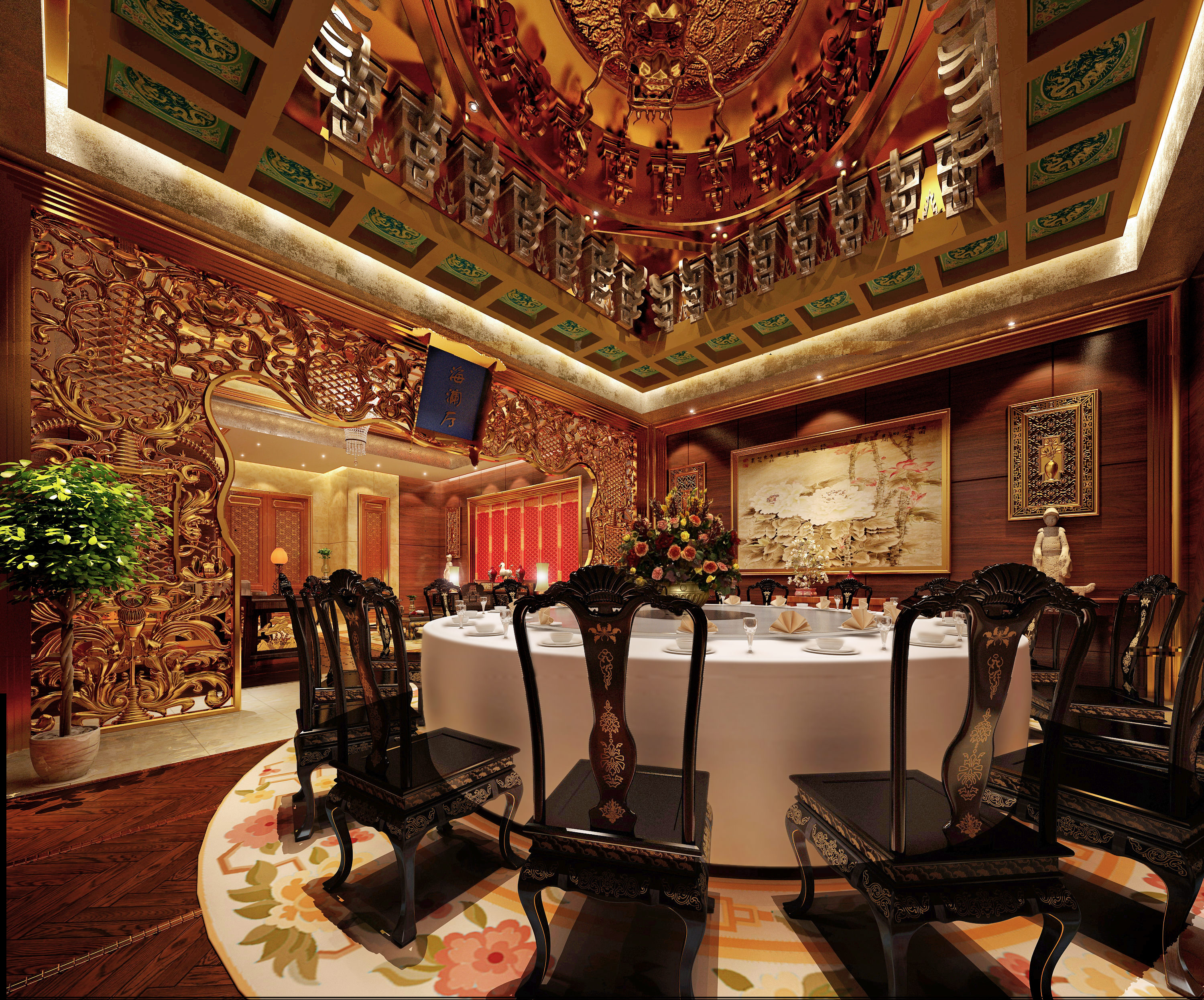 Luxury restaurant with royal decor d model max cgtrader
