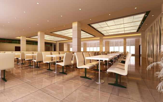 3d Spacious Office Canteen Cgtrader