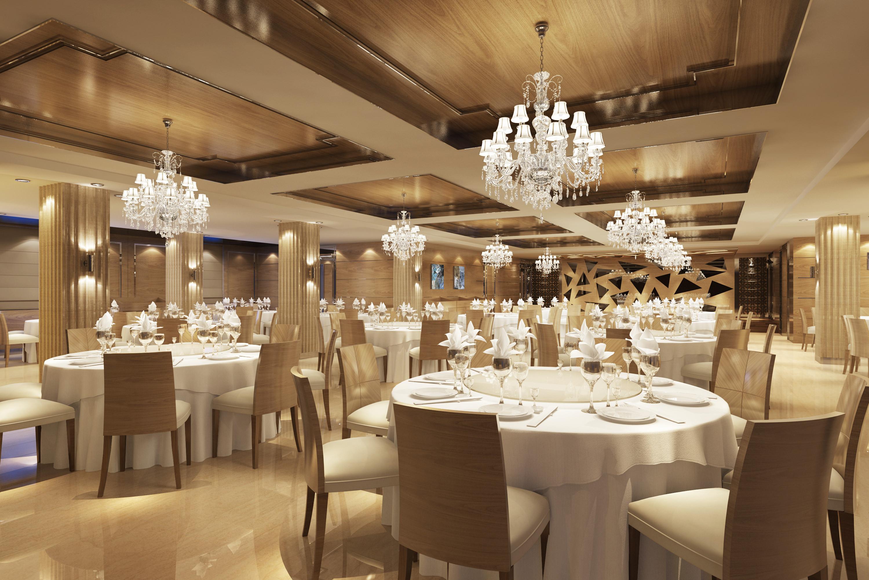 Classy Restaurant with Posh Chandeliers 3D