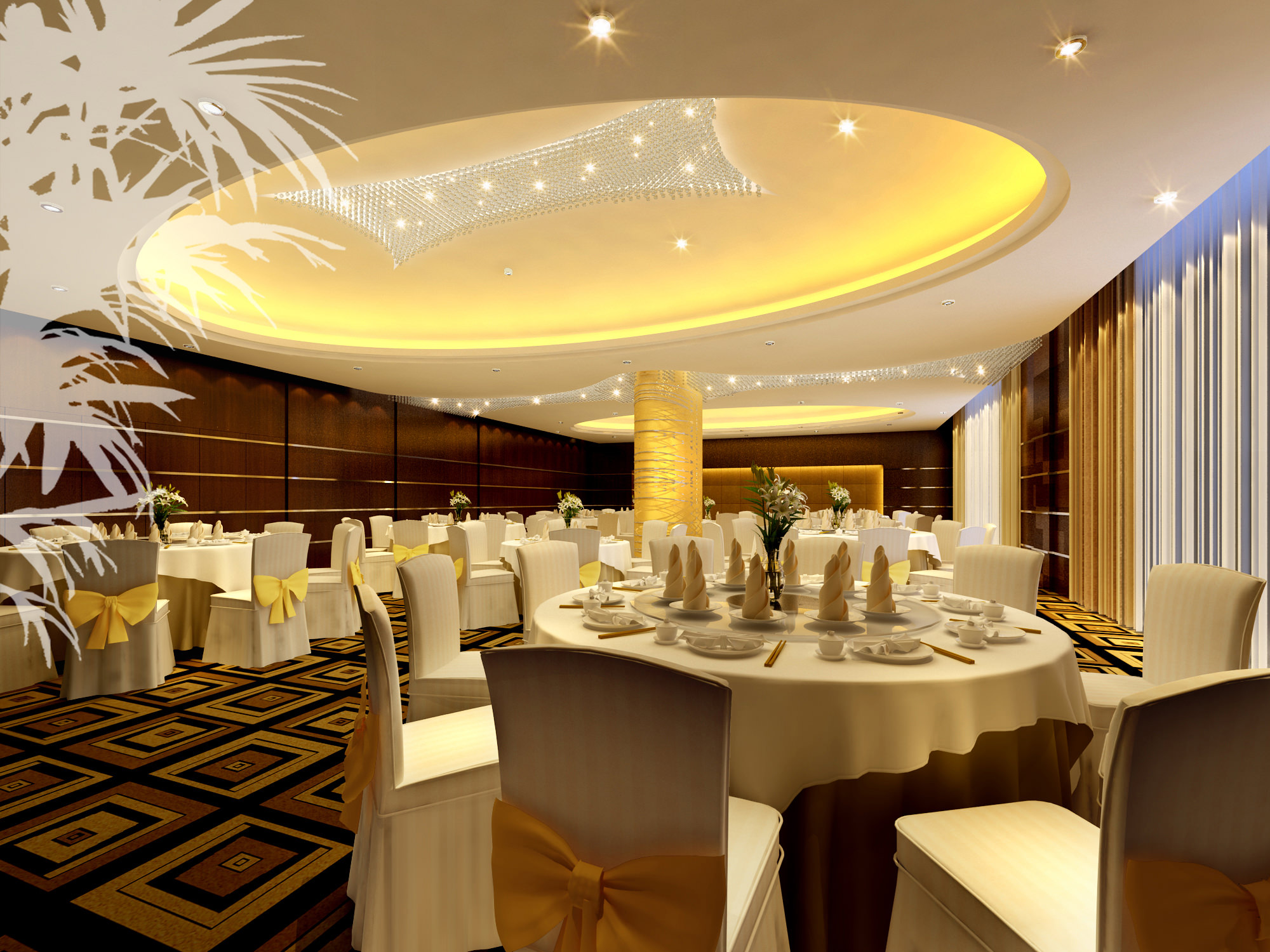 restaurant with luxury carpet and interior 3d model max