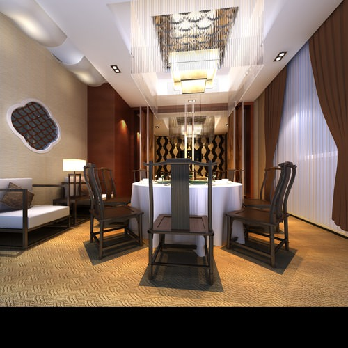 Exquisite Restaurant with Designer Walls 3D model MAX