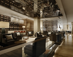 high-end restaurant with classy ceiling decor 3d model
