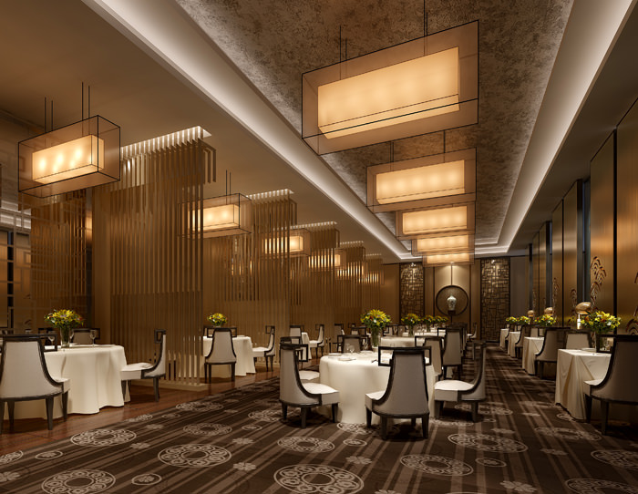 Classy Restaurant with High-end Wall Decor 3D model MAX