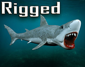 Great white shark 3D model rigged low-poly