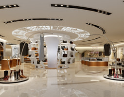 modern store with stylish interior 3d