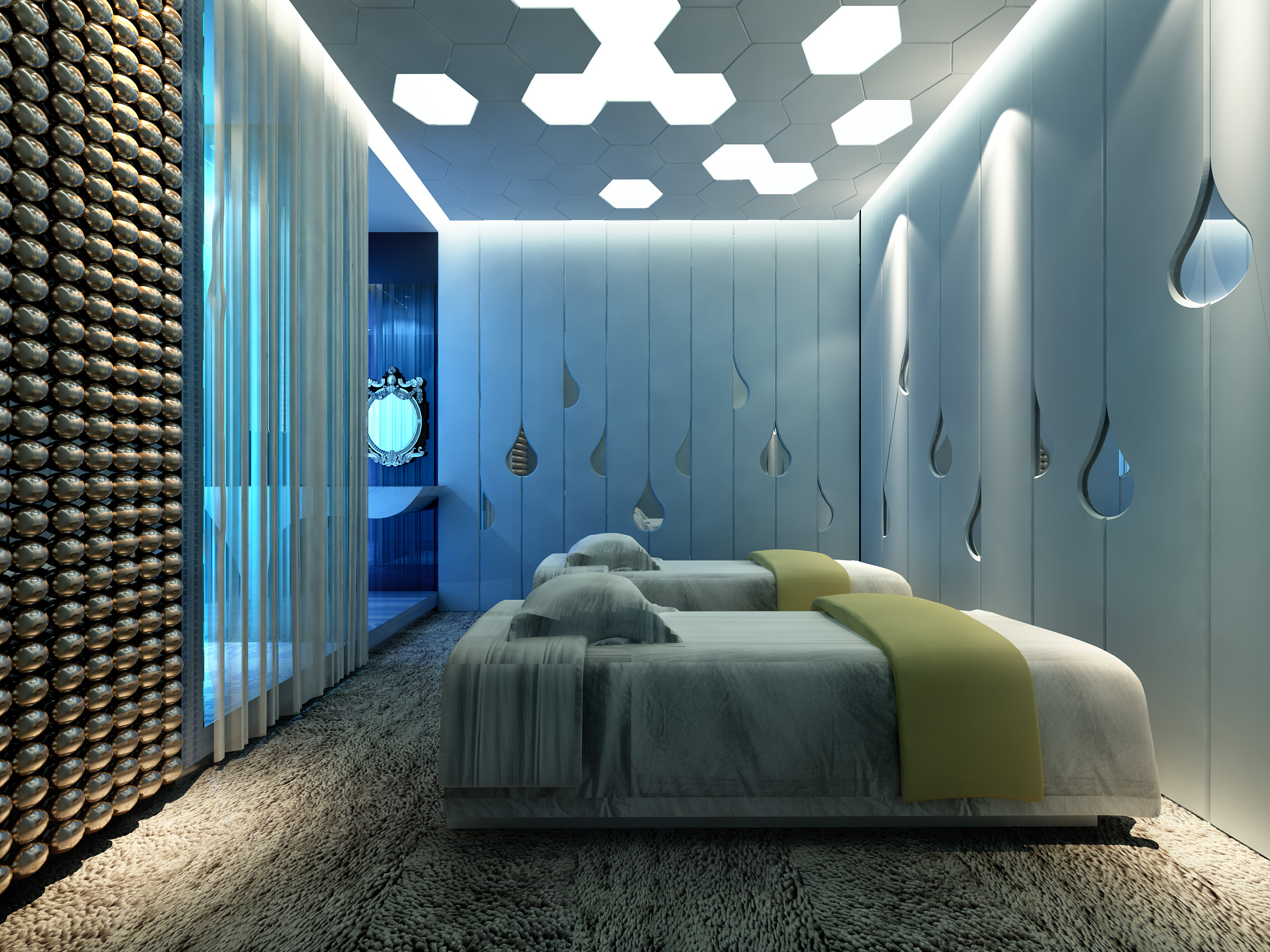 spa room with water drop wall decor 3d | cgtrader