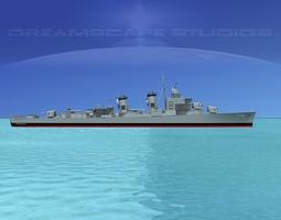 rigged 3d sumner class destroyer  dd735 uss robert smith