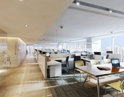 3d broad office space with large tables