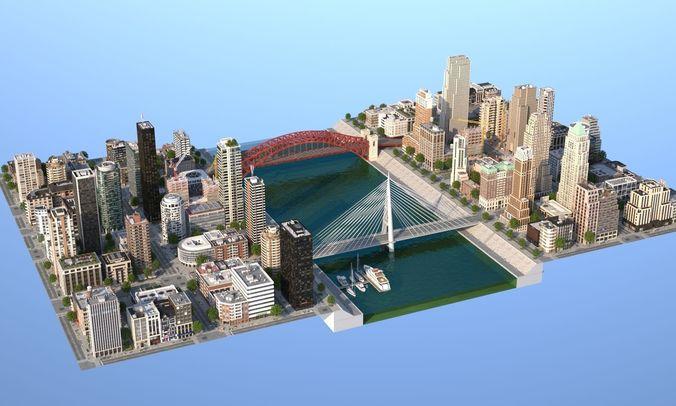 river city 3d model low-poly max obj mtl 3ds fbx c4d lwo lw lws 1