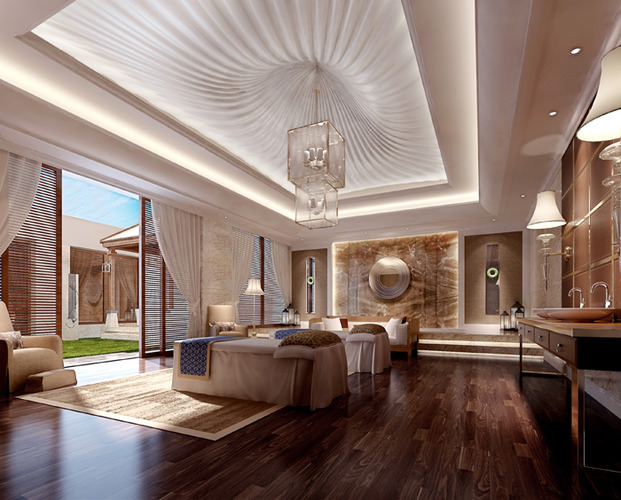 spa room with stylish false ceiling 3d model max 1