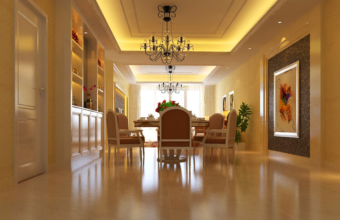 Aristocratic dining space with chandelier 3d model max for Dining room 3d max interior scenes