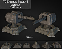 3d asset td cannon tower 01 low-poly
