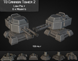 td cannon tower 02 low-poly 3d model