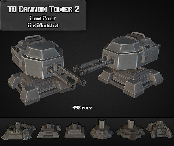 td cannon tower 02 3d model low-poly max obj mtl 3ds fbx dxf dwg 1