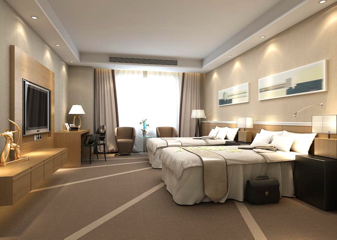 Guest room with exclusive designer carpet 3d model max for 3d max interior design