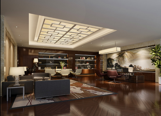 Office With Stylish Ceiling Light 3D Model MAX