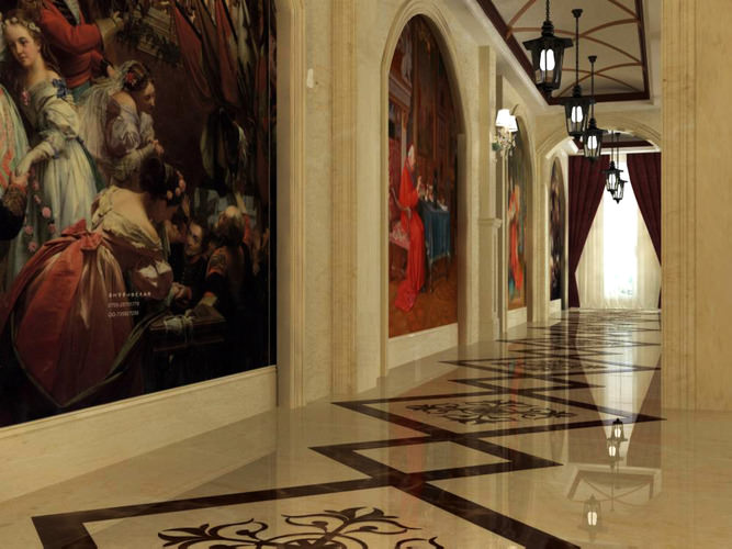 Corridor with Medieval Wall Art 3D | CGTrader